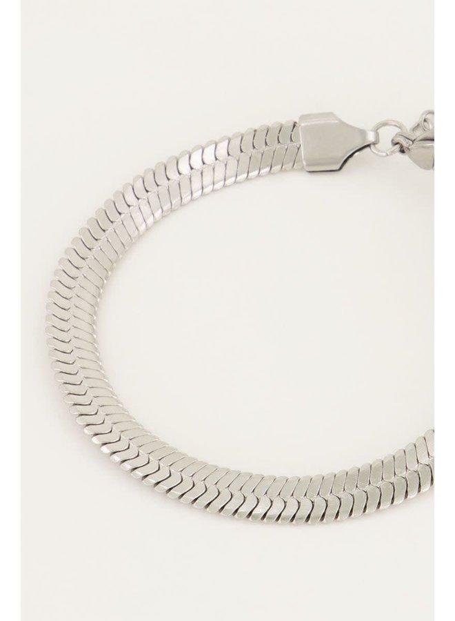 Armband Schakels Plat Zilver