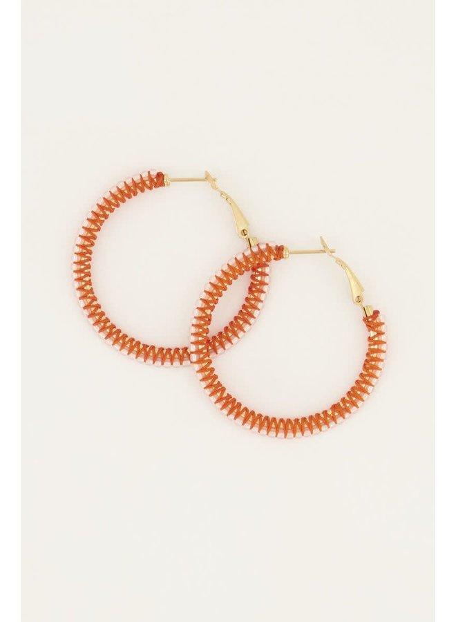 Oranje Oorringen met Kralen