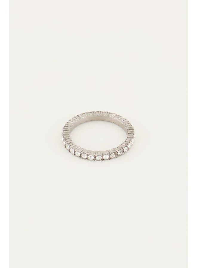 Vintage Ring Kristal Zilver