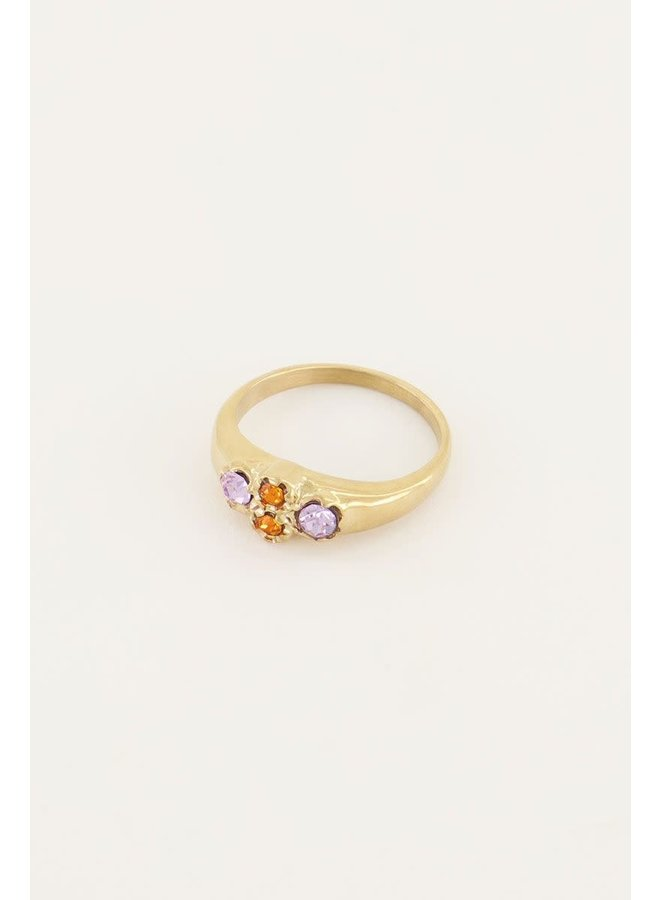 Vintage Cluster Ring Oranje Kristal Goud