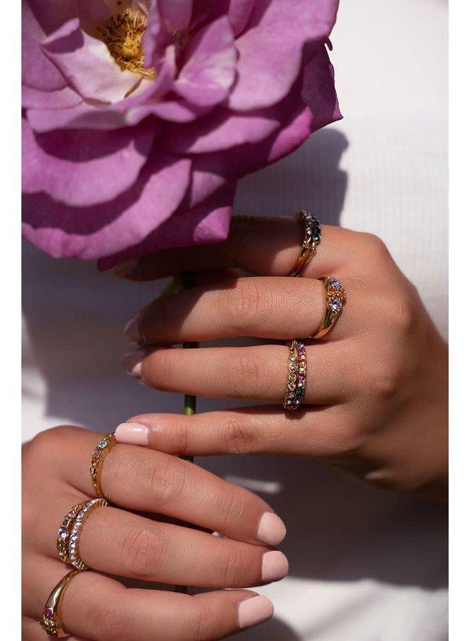 Vintage Ring Multikleur Zilver