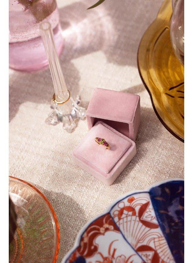 Vintage Cluster Ring Groen Kristal Goud