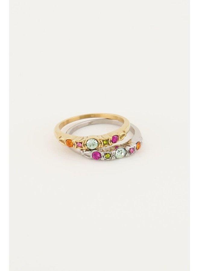 Vintage Klassieke Ring Multikleur Zilver