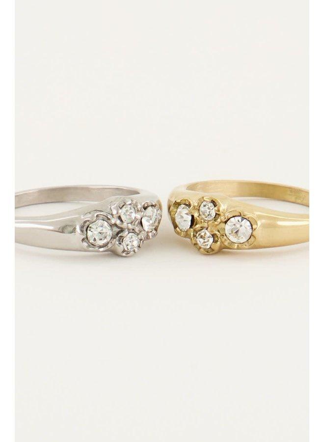 Vintage Cluster Ring Kristal Goud