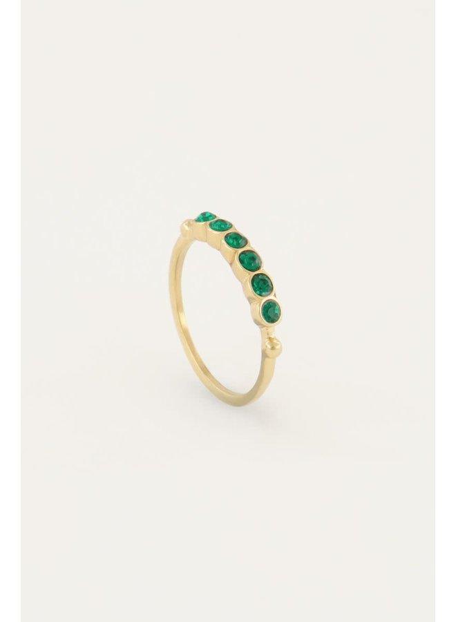 Vintage Ring Groen Kristal Goud
