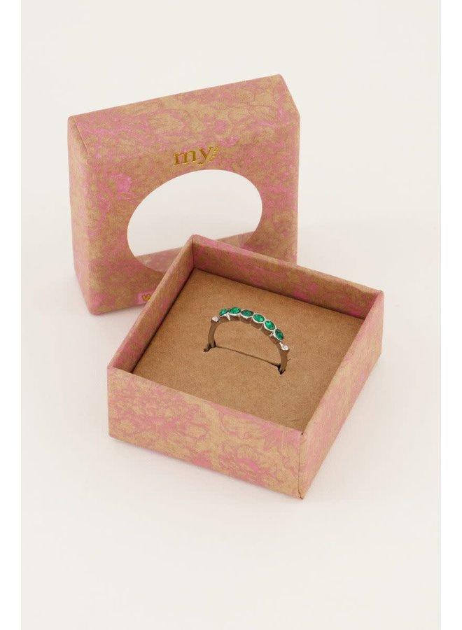 Vintage Ring Groen Kristal Zilver