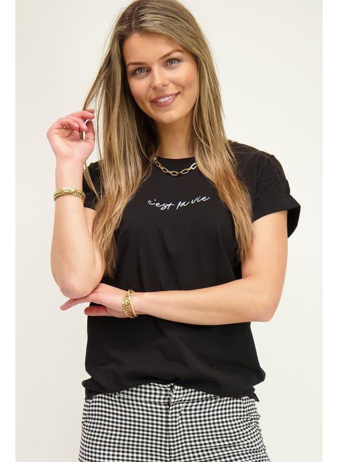 T-shirt C'est La Vie Zwart