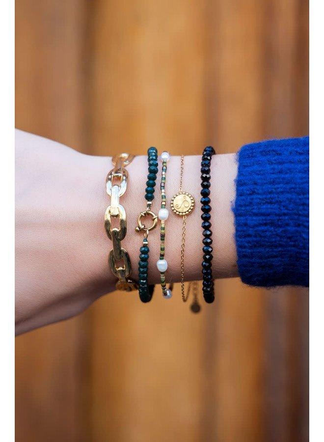 Kralen Armband met Goudkleurig Slotje Donkergroen