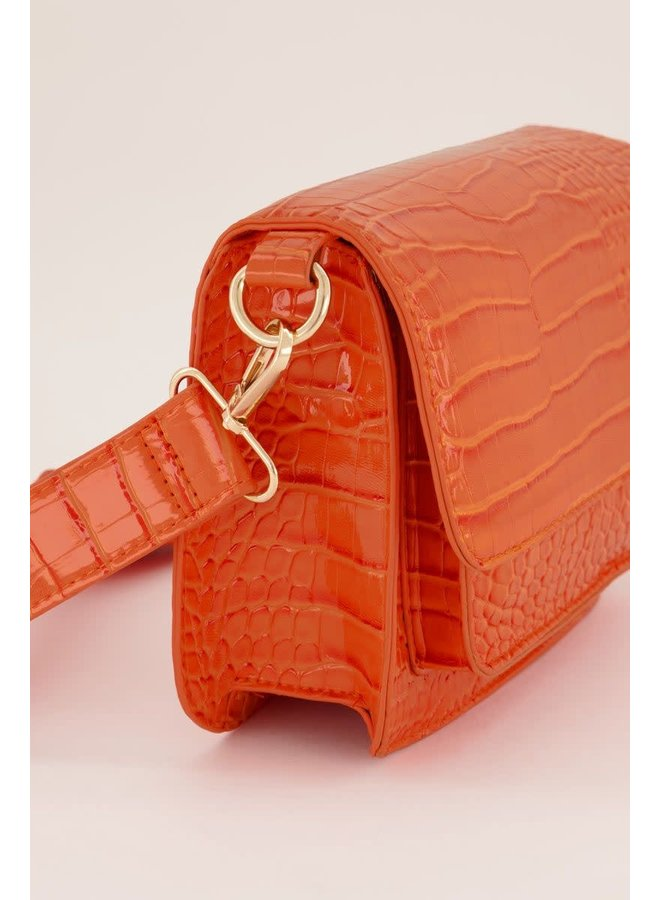 Oranje Schoudertas Crocoprint