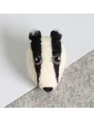 Hawthorn Handmade Needle Felt Badger Brooch Kit