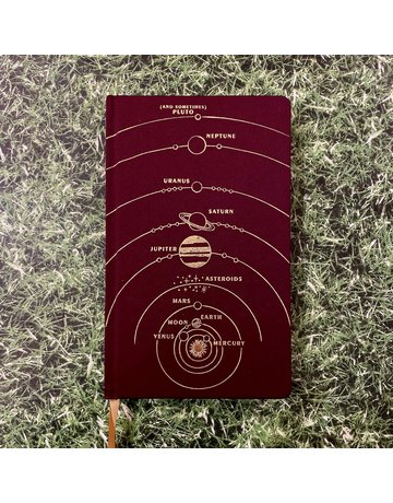 Eclectic Life Planets Burgundy Cloth Notebook