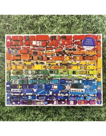 Galison 1000 Piece Puzzle Rainbow Toy Cars