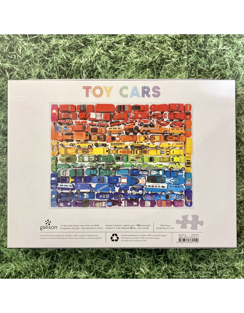 Galison 1000 Piece Puzzle Rainbow Toy Cars