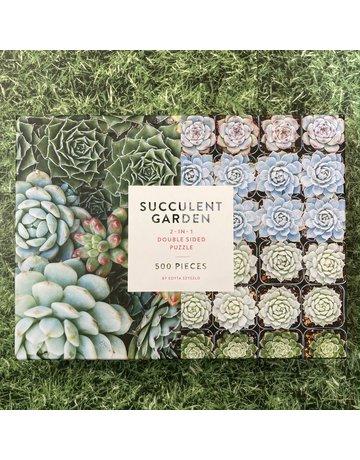 Galison 500 Piece Double Sided Succulent Garden Puzzle