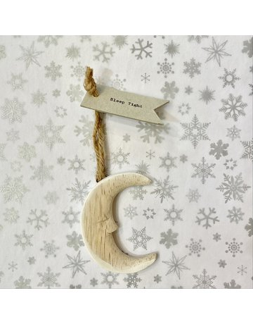 East of India Hanging Wooden Crescent Moon Small