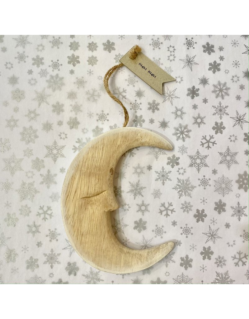 East of India Hanging Wooden Crescent Moon Large