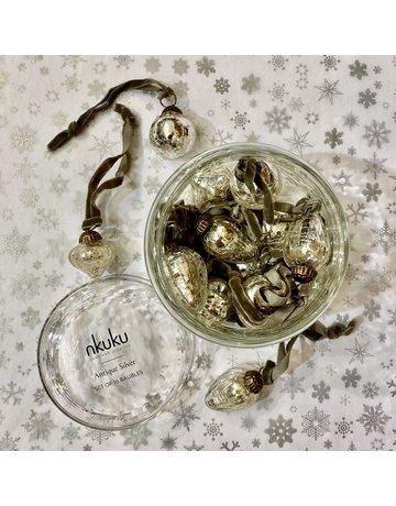Nkuku 16 Silver Baubles Keepsake Glass Jar