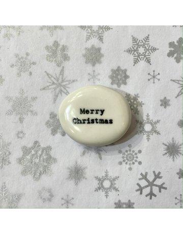 East of India Porcelain Pebble Merry Christmas