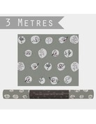 East of India Wrapping Paper Roll Grey Robins