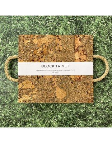 Liga Cork Block Trivet Ice Grey