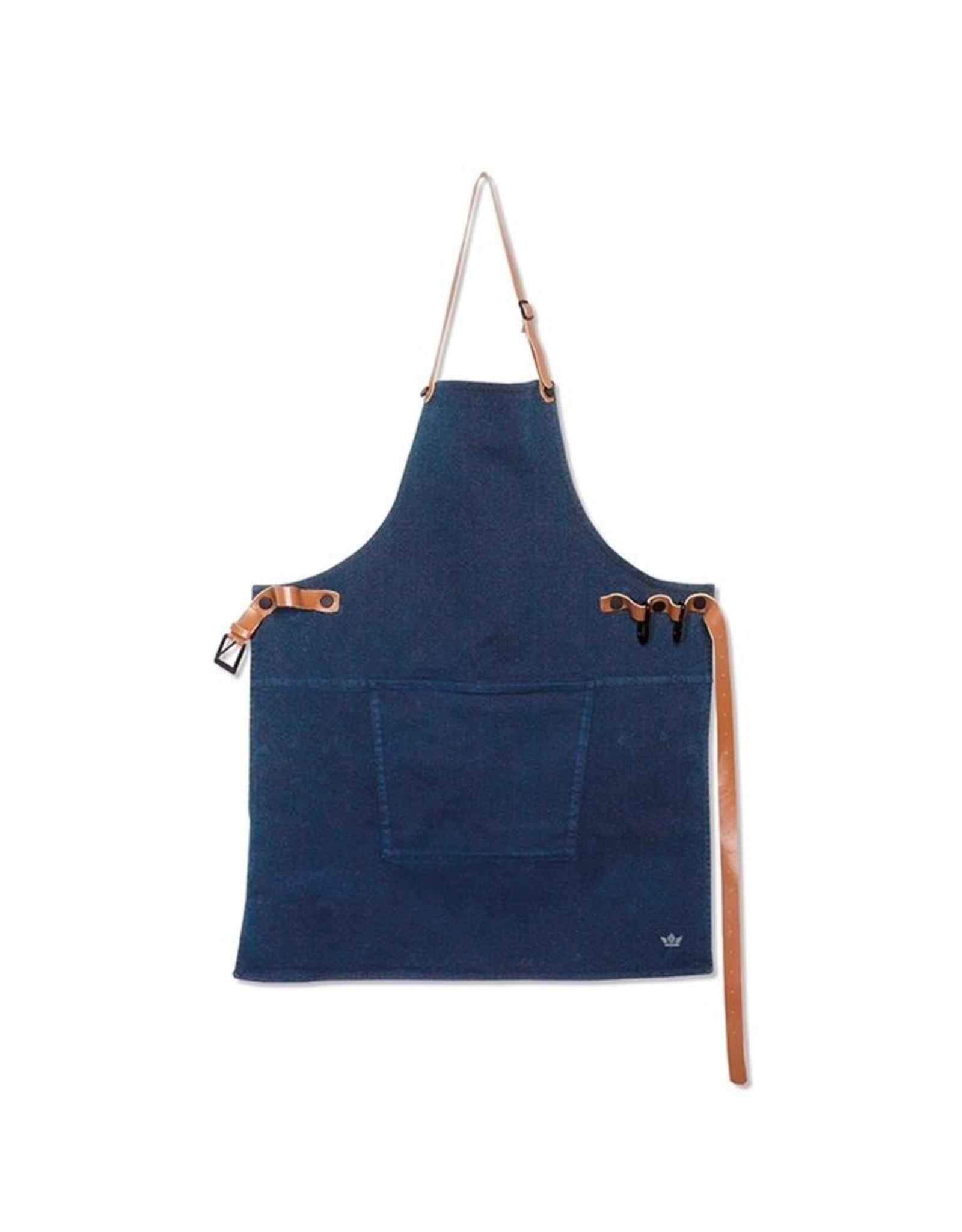 Dutchdeluxe BBQ-STYLE APRONS / CANVAS + LEATHER STRAPS / DARK BLUE