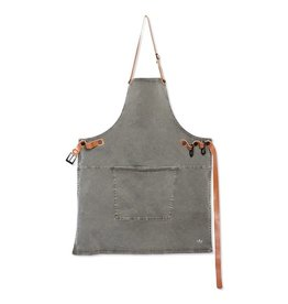 Dutchdeluxe BBQ-STYLE APRONS / CANVAS + LEATHER STRAPS / GREY-GREEN