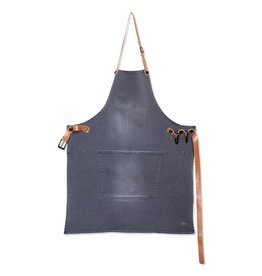 Dutchdeluxe BBQ-STYLE APRONS / DENIM + LEATHER STRAPS / WASHED GREY