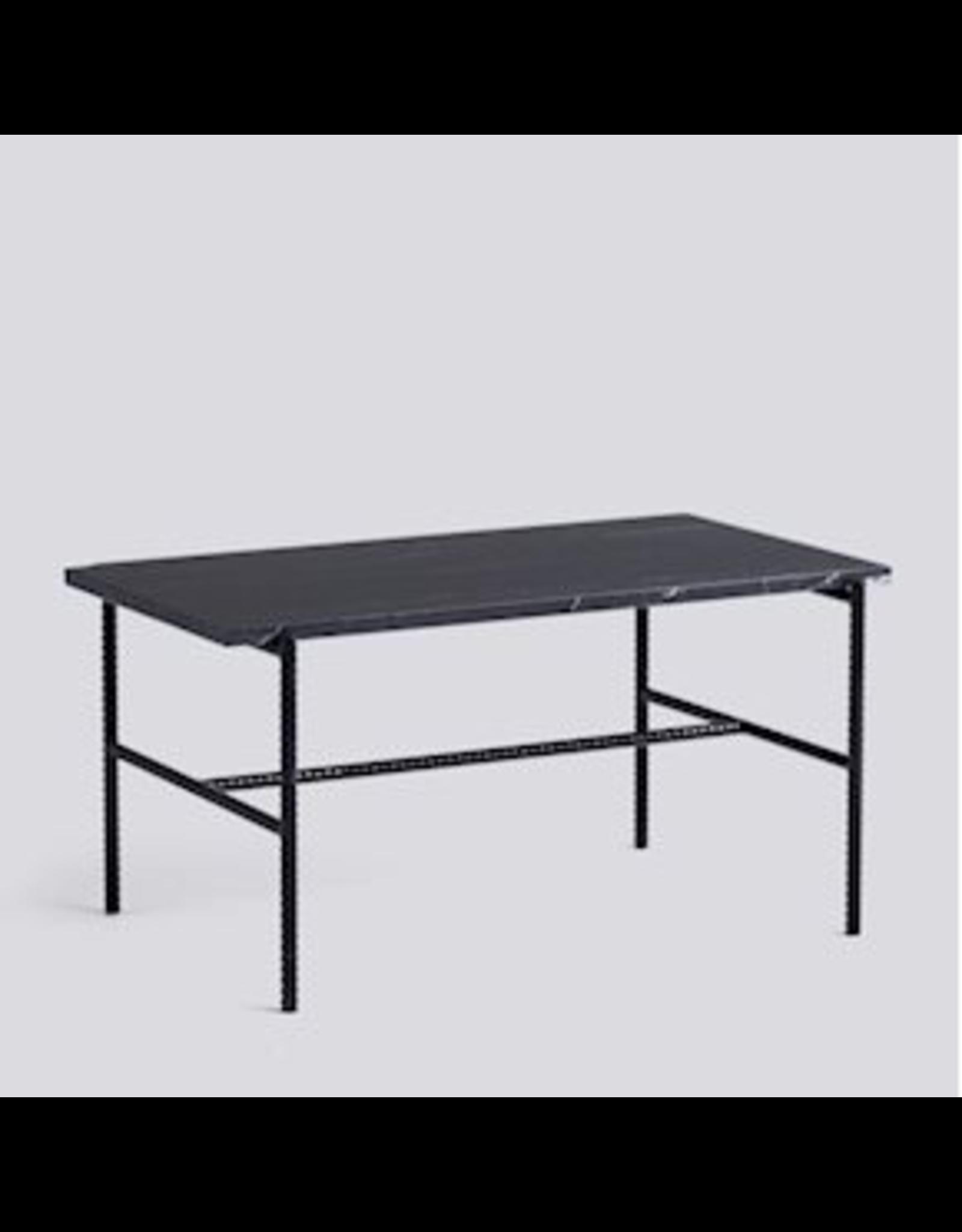 HAY TABLE À CAFÉ REBAR / ACIER REVÊTEMENT POUDRE NOIRE SOUPLE NOIR L80 X L49 X H40.5
