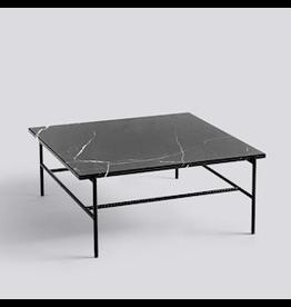 HAY REBAR COFFEE TABLE / SOFT BLACK POWDER COATED STEEL MARBLE / L80 X W84 X H33