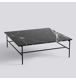 HAY REBAR COFFEE TABLE / SOFT BLACK POWDER COATED STEEL MARBLE / L100 X W104 X H33