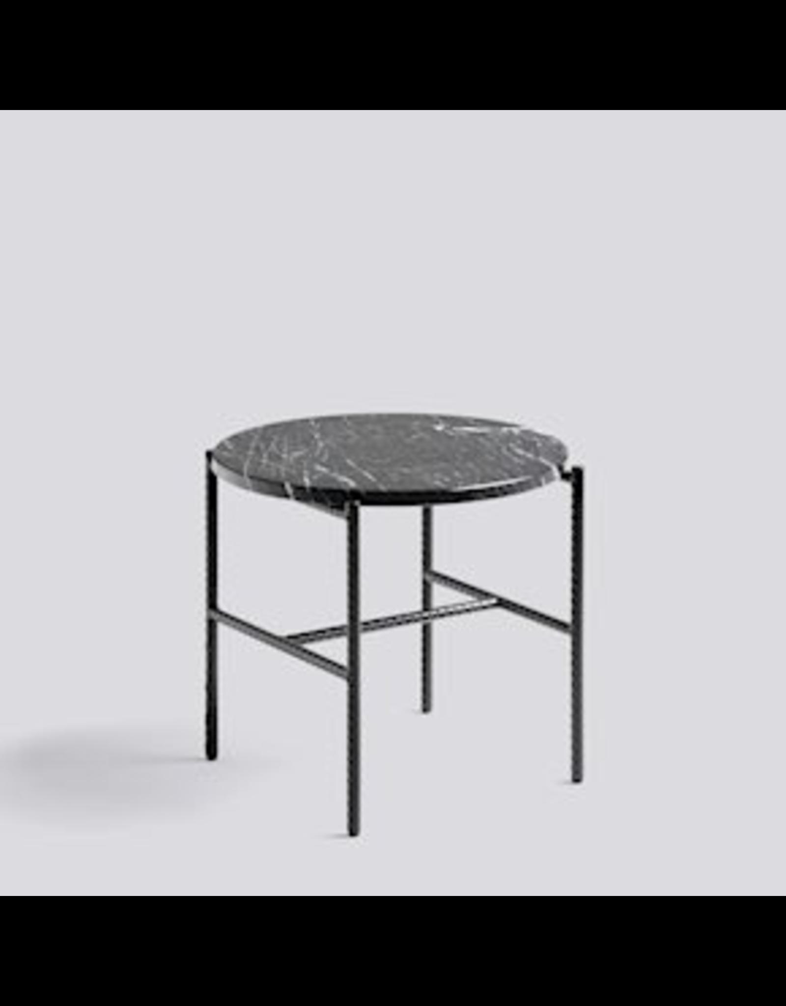 HAY REBAR SIDE TABLE / SOFT BLACK POWDER COATED STEEL MARBLE /Ø45 X H40.5