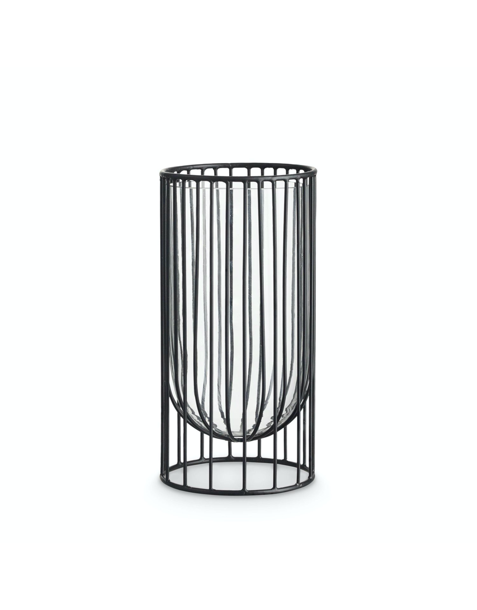 H. Skjalm P. WIRE VASE WITH GLASS H23 D11, BLACK