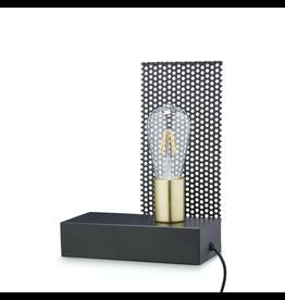H. Skjalm P. SQUARE LAMP W/WIRE 10X22 H:30CM, BLACK-BRASS