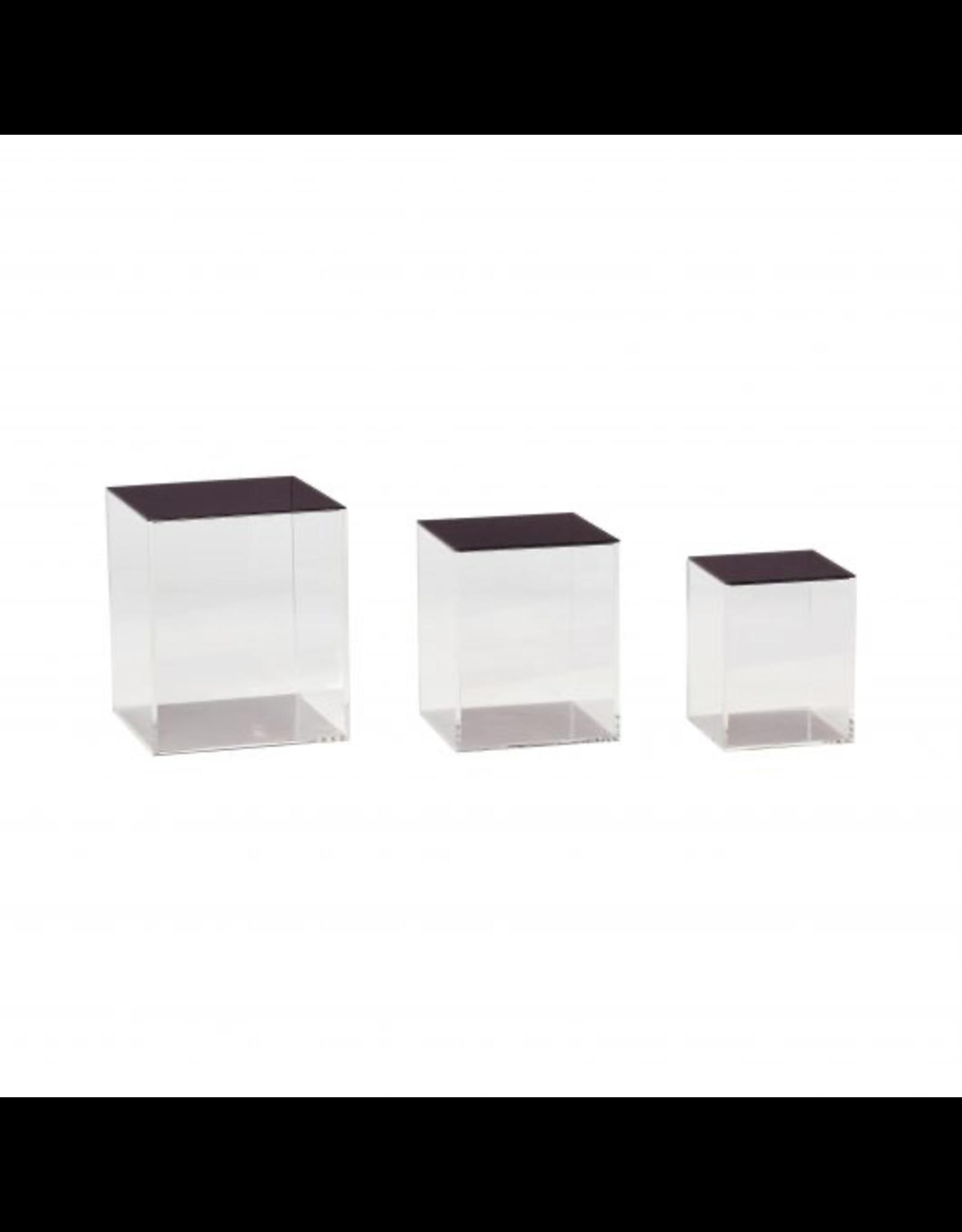 Hubsch A/S BOX W/LID, ACRYLIC, TRANSPARANT/BLACK, S/3
