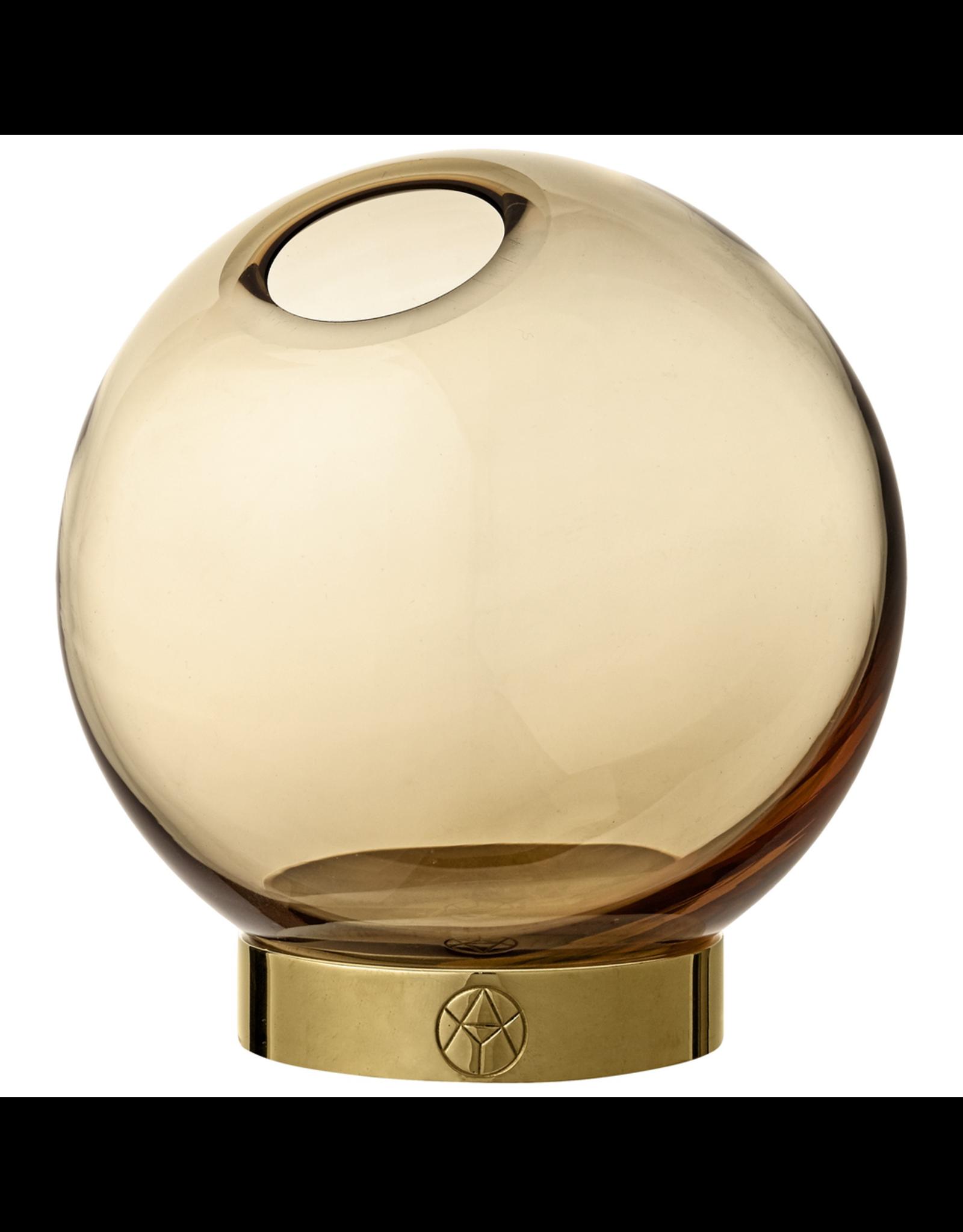 AYTM GLOBE VASE W. STAND SMALL AMBER/GOLD