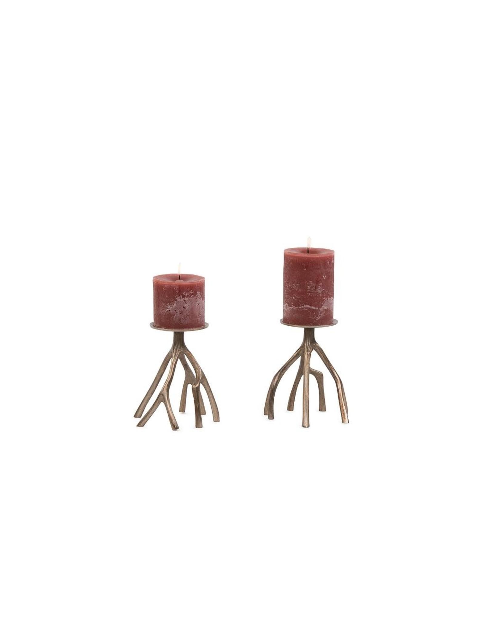 Dekocandle Organic Pillar Holder Aluminium - Bruched Gold - Medium