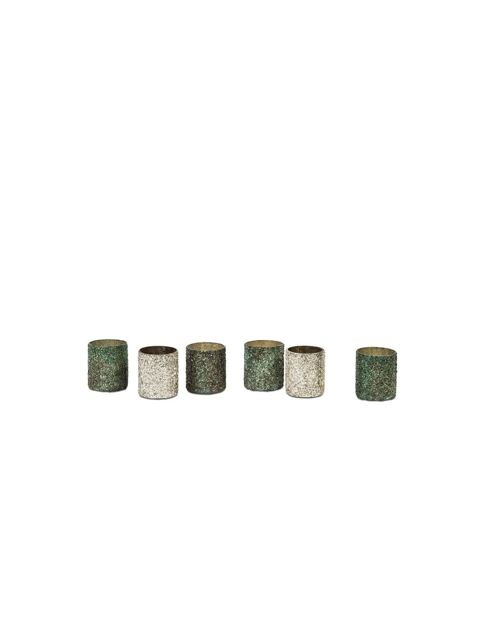 Dekocandle Tlight Flake Mosaic - glass - Shiny Green copper - 7x8cm