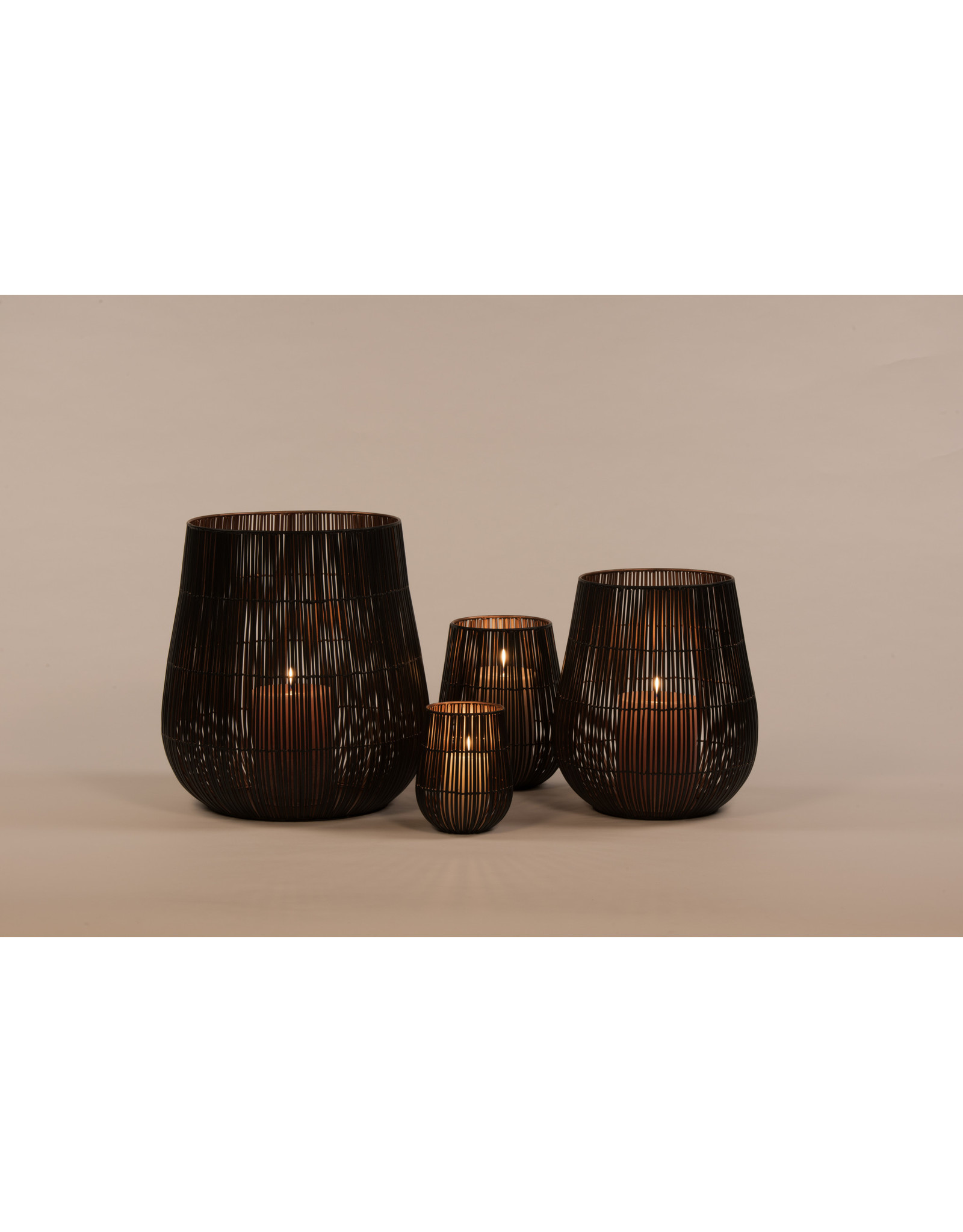 Pillar holder - metal - black + copper - medium Dia 19x23 cm