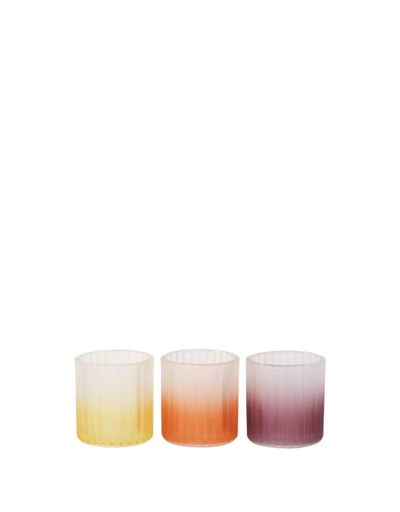 Alflora Waxinehouder D7.5XH10cm Mix Geel/Lila/Oranje Set/3