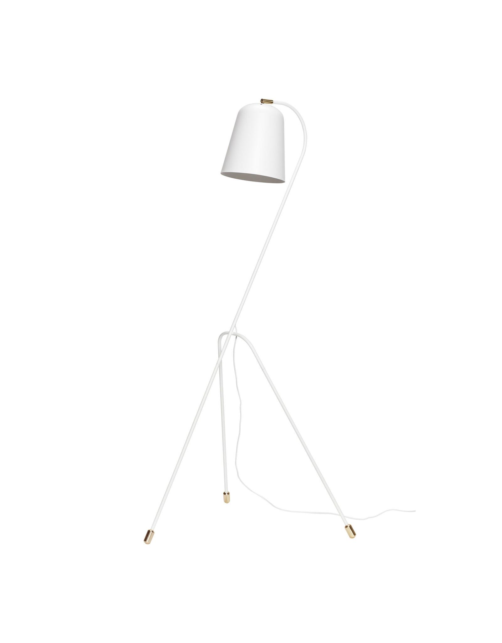 Hubsch A/S Floor Lamp, Metal White/Brass