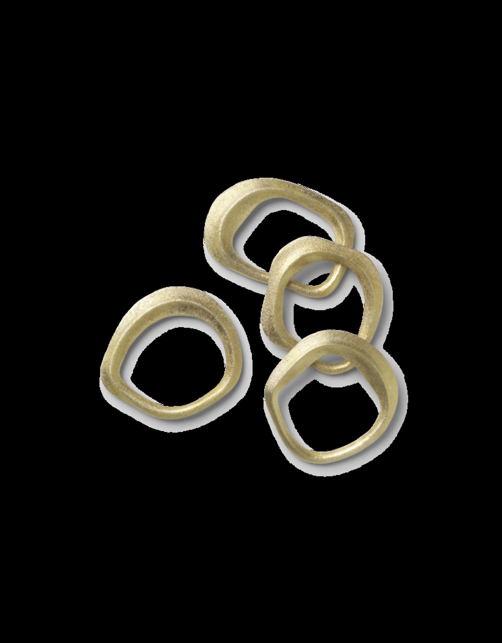 FERM LIVING Flow Napkin Rings - Set of 4 Brass