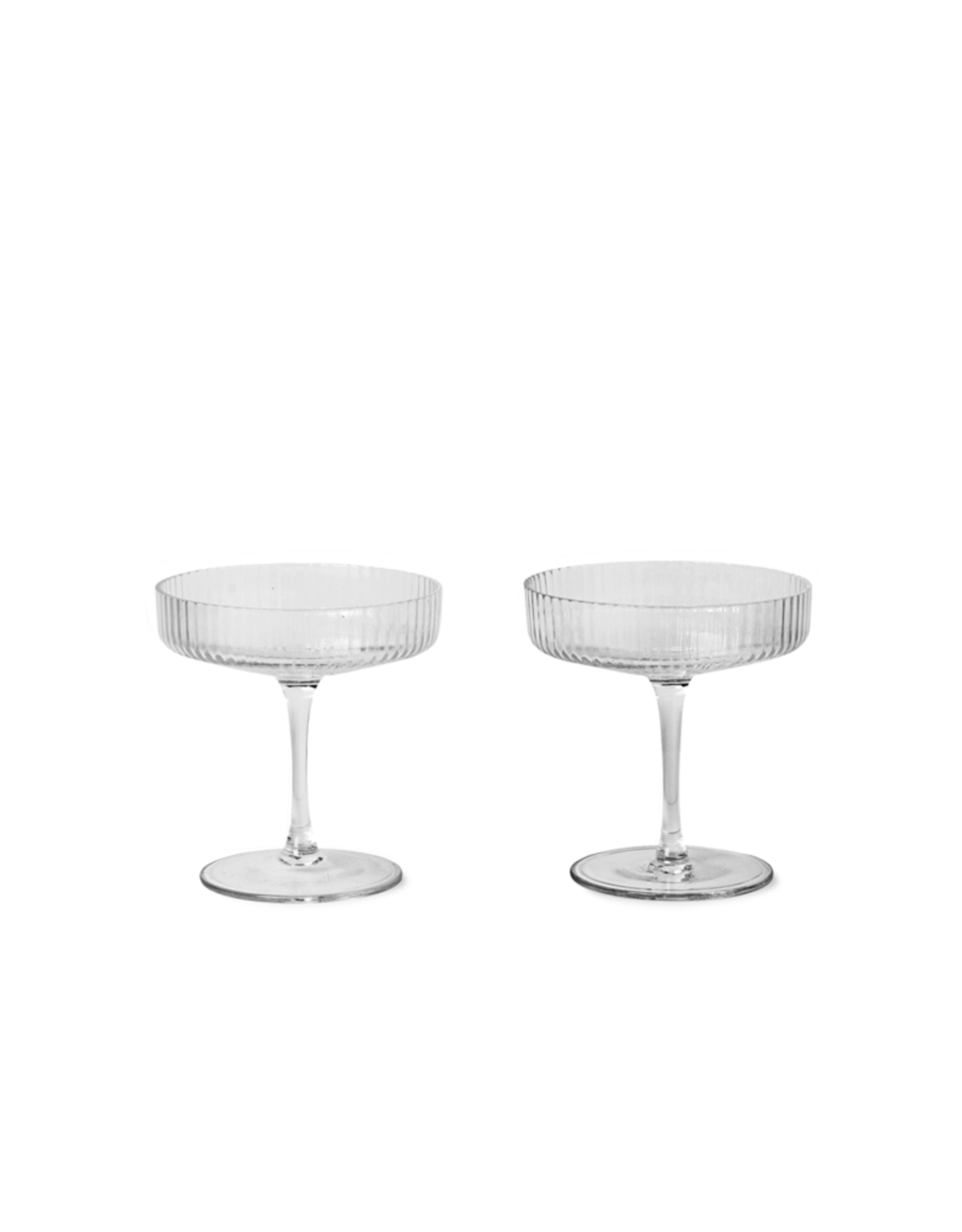 FERM LIVING Ripple Champagne Saucers (set of 2) Clear