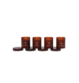 FERM LIVING Scented Advent Candles Set of 4 Red/ Brown