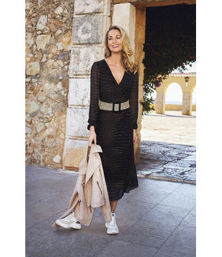 Tramontana C01-98-501 Dress Midi Mash Croco Print Blacks