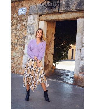 Tramontana E02-98-201 Skirt Midi Check Print Neutrals