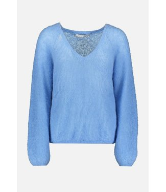 Summum Woman 7s5555-7810 V-neck sweater feather light alpaca knit Sky