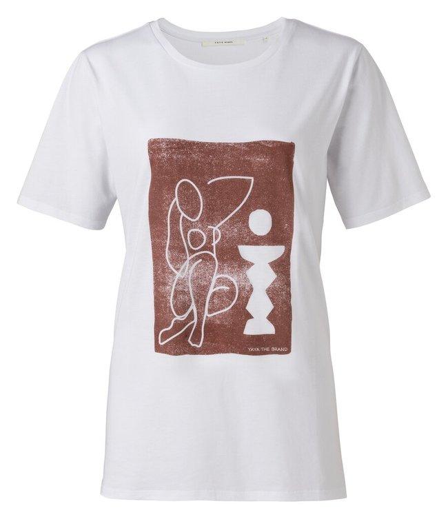 YAYA 1919176-111  Jersey tee with steno print