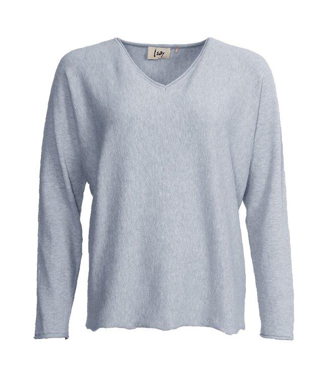 I Say 56688-LightBlueMelange  Frigga v-neck pullover