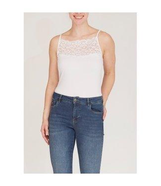 I Say 55485-White  Nilla wide lace top