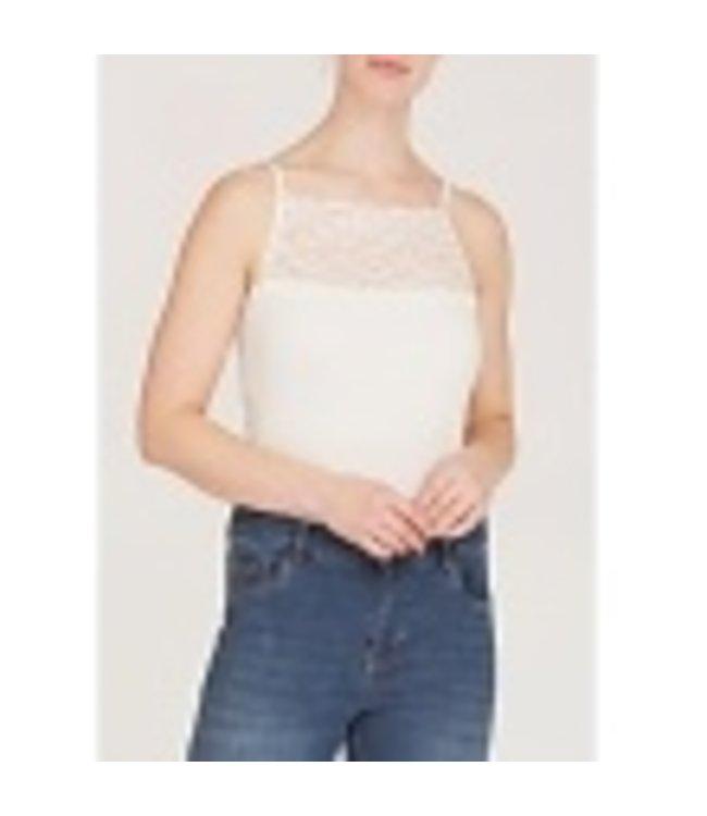 I Say 55485-BrokenWhite  Nilla wide lace top